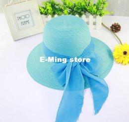 Wholesale Casual Church Dresses - Fashion Designer Foldable Straw Hat With A Bow For Women Summer Wide Brimmed Beach Sun Visors Ladies Elegant Dress Caps Derby Bucket Hat