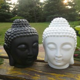 Wholesale Decoration Buddha - Home decoration Aroma oil burner ceramic Buddha head candle holders essential oil burner incense base Lavender Assuaging scent