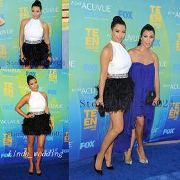 Wholesale Kim Kardashian Black Cocktail Dress - Kim Kardashian Halter Feather Evening Dress New Arrival Mini White Formal Party Prom Gown Cocktail Dress Celebrity Dress