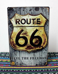 """Wholesale Wholesale Decorative Metal Wall Art - Wholesale- UA-0320 """"feel the freedom"""" route 66 metal tin signs About music lady decorative plates wall art craft home decor bar 20X30cm"""