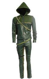 Trajes de hombre verde online-Cosplay disfraz Green Arrow Man Oliver Queen disfraz de Halloween sudaderas con capucha