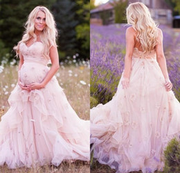 Wholesale Skirts For Pregnant - Pink Plus Size Wedding Dresses for Pregnant Women 2017 Sweetheart with 3D Flower Flower Tiered Tulle Ruffles Modest Custom Made Bridal Gowns