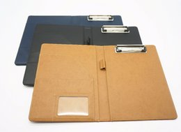 Wholesale A5 Folders - Wholesale- A5 document bag file folder clip board business office financial school supplies faux leather made Super Promotion on now