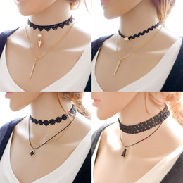 Wholesale Tattoo Choker Necklace Wholesale - Hot Sale Multi-Layer Tattoo Choker Necklace Charm Long Tassel Adjustable Pendants Necklaces for Women Black Lace Chokers