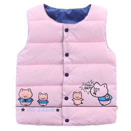 Wholesale Down Vest Cartoon Waistcoats - Wholesale-Vest For Girls Down Cotton Sleeveless Baby Boys Warm Vest Cartoon Pig Printed Waistcoat High Quality Children'S Winter Outwear