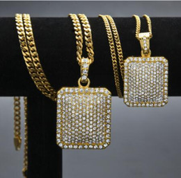 Tag argentati online-2018 Men Army Style Collana in oro e argento placcato pieno CZ Iced Out Charm Dog Tag Collana Hip Hop Bling Bling gioielli