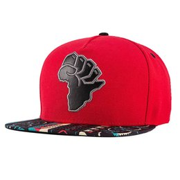 Wholesale Baseball Africa - New Embroidery Snapback, Baseball Hat Flat Brim Hip Hop Caps, Red Map of Africa