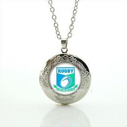 Wholesale Glass Souvenirs - High quality glass cabochon pendant necklace rugby jewelry football club team Souvenirs jewelry gift for men and women NF021