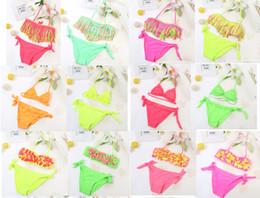 Wholesale Swimwear For Little Girls - Summer Girls Two Piece Fringe Swimwear Triangle Halter Neck Swimsuit For Teenagers little kids bikini Children In Bathing Suits Bikini
