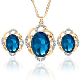 Wholesale Hypoallergenic Pendant Necklace - 3 Colors Jewelry Sets for Women Round Cubic Zircon Hypoallergenic Copper Necklace Earrings Jewelry Sets