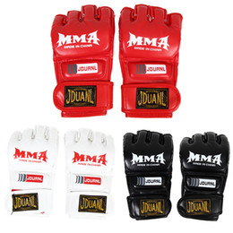 mitts gym Coupons - 1pair Pu Leather Half Mitts Mitten Mma Muay Thai Train Gym Gloves Half Mitt Training Sparring Kick Boxing Gloves Equiment Isp