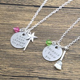 Wholesale Wholesales Best Friends Necklaces - 12set  lot best friend necklaces, wicked musical jewelry, changed for good, because I knew you, sister necklace set wizard of Oz