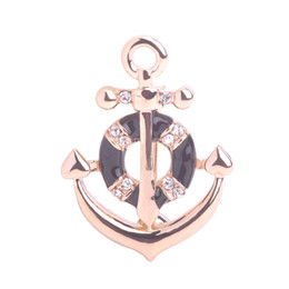 Wholesale Enamel Anchor Jewelry - 2016 Fashion Jewelry 18K Gold Plated Anchor Brooches Black Enamel Crystal Brooch Women Scarf Dress Hats Buckles Corsages Bijoux