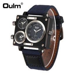 Argentina Oulm Luxury Brand Rectangle Men Quartz Dress Reloj Reloj de tres zonas horarias correa de lona Relogio Masculino 3595 Suministro