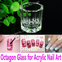 Wholesale Liquid Crystal Powder For Nails - Wholesale- Mini Octagon Glass Small Crystal Glass Tiny Cup for Mixing Acrylic Liquid & Acrylic Powder Dappen Dish for Acrylic Nail Art Tool