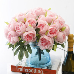 Wholesale Artificial Peonies Flower - Pretty Charming Bouquet Artificial Silk Flower Peony Wedding Bouquets Peony for Bridal Bouquet Wedding Party Decor