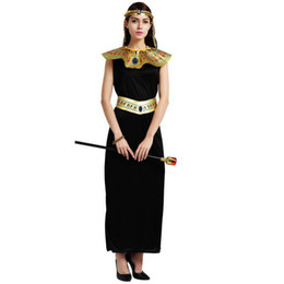 ee6de65155 Adults Ancient Egypt Costume King Queen Pharaoh Costume For Women Black  Prince Cosplay Props Halloween Carnival Dance Party Supplies