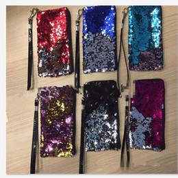 2019 hello kitty pencils wholesale Double paillettes de couleur sac Paillettes brillant paillettes Téléphone Case Sac à main Porte-monnaie Coin Sac Bourse LJJK740