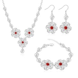 Wholesale Cheap Cz Necklaces - Hot fashion jewelry bracelet necklace set CZ earrings newborn free shipping cheap wedding jewelry accessories S822