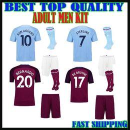 Wholesale Man City Football Kit - adult kit 17 18 MAN CITY SOCCER JERSEY+shorts+socks KUN AGUERO STERLING MENDY 2017 HOME blue WALKER DE BRUYNE AWAY men sets football shirts