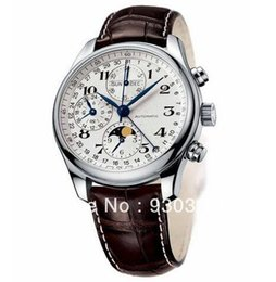 Wholesale Date Crystal - Top swiss brand Automatic Mechanical watch Calendar Date Moonphase Business Men's Watch L2.673.4.78.3