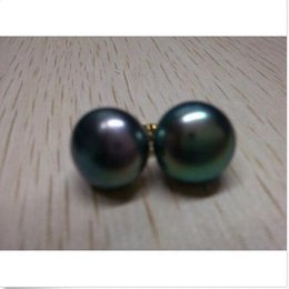 Wholesale Yellow Pearl Dangle Earrings - stunning A pair of natural 11-12mm tahitian black pearl earring 14K yellow Gold