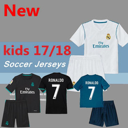 Wholesale White Football Jerseys Kids - 2017 Real Madrid RONALDO kids soccer jerseys full sets with socks boys child kits 16 17 18 Home White Third JAMES BALE football shirts