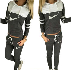 Wholesale Womens Fashion Cardigans - Womens Tracksuit Set 2016 Autumn Winter Casual Hoody Suits Fashion Long Sleeeve Casual 2 Piece Hooded Pullovers Sweatshirts Suit