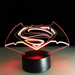 Wholesale Superman Cartoon Usb - 2017 Superman Sign 3D Optical Illusion Lamp Night Light DC 5V USB Charging AA Battery Wholesale Dropshipping Free Shipping