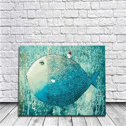Wholesale Poster Panel - Framed Sleeping Fish DIY Painting By Numbers Drawing By Painting Kits Painting Hand Painted On Canvas For Home Wall Art Picture Poster