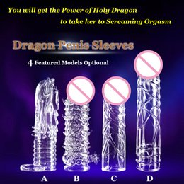 Wholesale Dragon Ring Cock - 1PC Free Shipping Newest Reusable Penis Sleeve Dragon Cock Ring Sleeves Penis Extender Condoms Sex Toys Sex Products