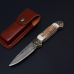 geweih messer falten Rabatt Top Qualität Damaskus Überleben Klappmesser Geweih Griff EDC Taschenmesser Outdoor Survival Messer EDC Weihnachtsgeschenk