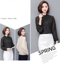 Wholesale Ladies Shirt Material - Women fashion Spring and Autumn chiffon shirts,High quality polyester materials tops shirts of lady,two colours five size