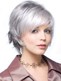 Wholesale Cosplay Grey Hair - Fashion Women Short Curly Grey Silver Natural Wigs High Tempreture Resistant Synthetic Hair Women Short Grey Curly Cosplay Wigs