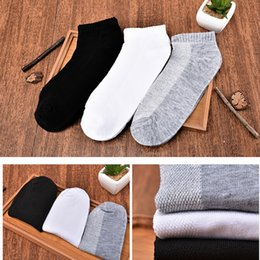 Wholesale Wholesale Black Socks For Boys - Wholesale-4 Pcs lot Breathable Mesh Ankle Short Opening Men's Cotton Sports Socks Solid Color White Black Gray Casual Sock For Men Boys