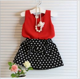 Wholesale Girls Polka Dot Vest - 2016 New Arrival Girls Red Sleeveless Vest T-shirt+Polka Dots Bowknot Skirts 2pcs Kids Outfits Baby Girl Clothes Cute Children Summer Suit