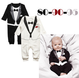 13218dbeb7f8 2016 Newborn Boy Baby Formal Suit Tuxedo Romper Pants Jumpsuit fake Gentleman  Clothes for infant baby romper jumpsuits