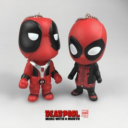 Wholesale Deadpool Accessories - New Deadpool 3.54inch Super Hero Action Figures Keychain PVC hollow Soft MARVEL X- Men's Deadpool Pendnt Free shipping E992
