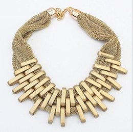 Wholesale Graduated Color - Europe and America brand fashion necklace Fashion geometric network yarn braided necklace,Necklace Alloy Gold Black color Silver color
