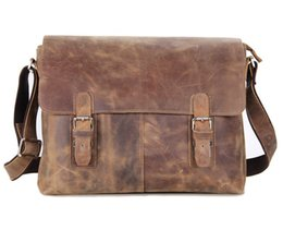 """Wholesale Leather Mens Briefcase - Mens New Genuine Crazy Horse Leather Bag Big Size Inclined Should Bag Briefcase for 15"""" MacBook Air Bag Deep Brown Color 6002LR"""