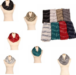 Wholesale Musical Prints - Musical Note Print Scarf Womens Fashion Neck Scarves Shawl musical notation printed scarves soft scarf LJJK742