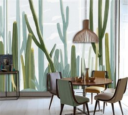 Wholesale Photo Stickers Paper - European Style Living 3d Wallpaper Cacti Plant Wall Mural Photo Wallpaper bedroom Wall Paper Sticker papel de parede para sala