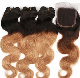 Wholesale Two Toned Lace Top Closure - Omber Hair Malaysian Hair Body Wave Hair Weft Weaves 3pcs With 1 Piece Lace Top Closure 1b #27 Two Tone Color