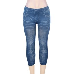 Wholesale Three Quarter Jeans Women - Wholesale- TS2068 Three quarter length seamless jeans woman wholesale and retail fashion leggings mid waist one size jeans leggings
