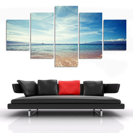 Wholesale Oil Painting Sea Blue Landscape - No Framed 5 Pcs Canvas Painting Art Cheap Blue Sea Picture Home Decor On Canvas Modern Wall Prints Artworks