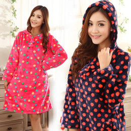 Wholesale Blue Coral Loose - Wholesale-2014 Loose plus size women's coral fleece mink flannel nightgown sleepwear autumn and winter long-sleeve maternity mm lounge