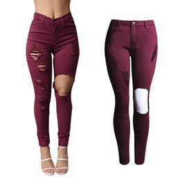 Wholesale New Skinny Jeans For Women - New 2016 Hot Fashion Ladies Burgundy Cotton Denim Pants Stretch Womens Washing Ripped Skinny Jeans Denim Jeans For Female