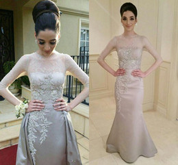 Wholesale Detachable Dress Lace - Evening Dresses 2017 New Arabic Half Sleeves Silver Lace Appliques Beaded Satin Sheath Long Detachable Skirts Formal Party Dress Prom Gowns