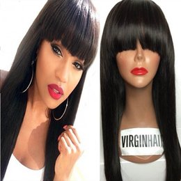 Wholesale Chinese Bangs Black Women - Human Hair Wigs With Full Bangs 8A Unprocessed Brazilian Full Lace Wig   Lace Front Wigs Silky Straight For Black Women With Baby Hair