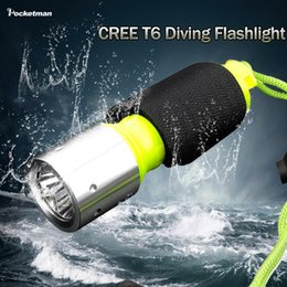 Wholesale Free Diving Flashlight - 2016 LED Diving Flashlight Torch CREE T6 Underwater Diving Lights Waterproof Lamp free shipping
